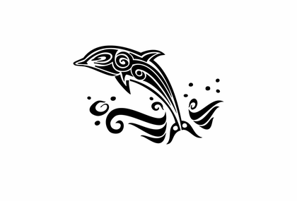 Wandtattoo - Delfin im Tribal Design
